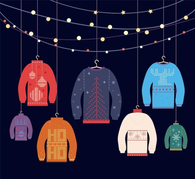 Brutto maglione. maglioni natalizi con diverse graziose stampe e ornamenti Vettore Premium