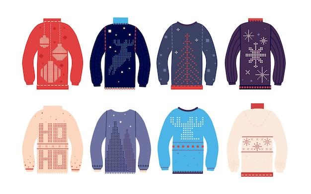 Brutto maglione. brutti maglioni natalizi tradizionali con diverse stampe e ornamenti carini, divertenti vestiti di lana per le vacanze Vettore Premium