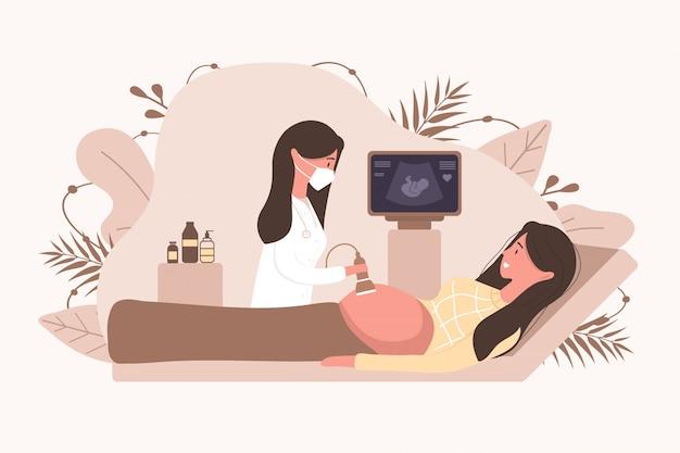 Concetto di screening di gravidanza ad ultrasuoni. medico femminile in uniforme medica scansione madre. ragazza con la pancia che osserva nel sorridere del video. illustrazione diagnostica di salute del bambino dell'embrione. Vettore Premium