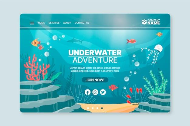 Modello di poster di avventura subacquea Vettore Premium