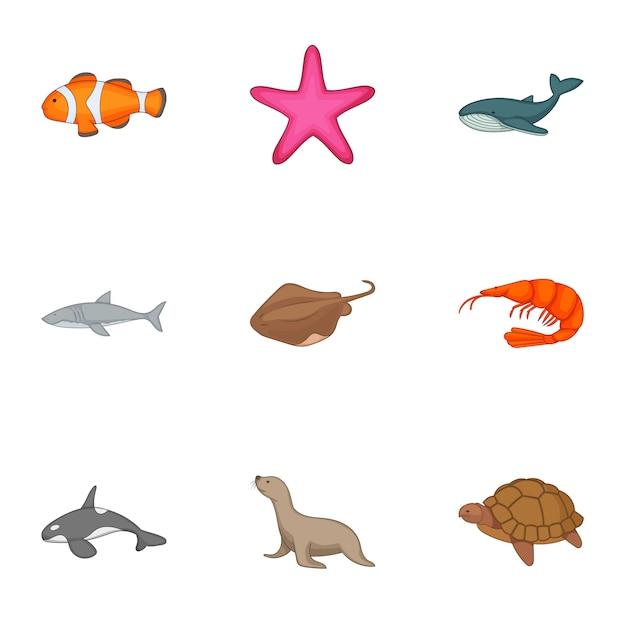 Set di animali subacquei, stile cartoon Vettore Premium