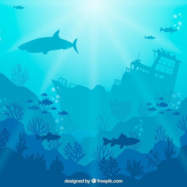 Sfondo sott'acqua con diverse specie marine Vettore Premium