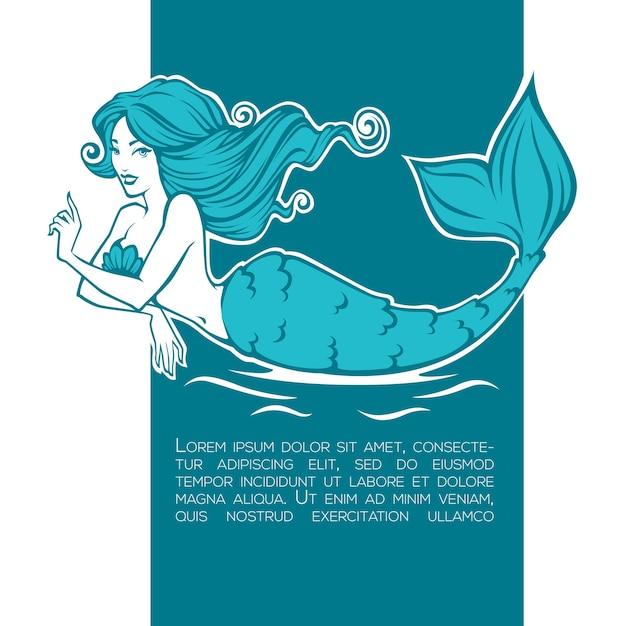 Bella sirena subacquea, immagine del fumetto della ragazza per la tua etichetta, emblema, volantino Vettore Premium