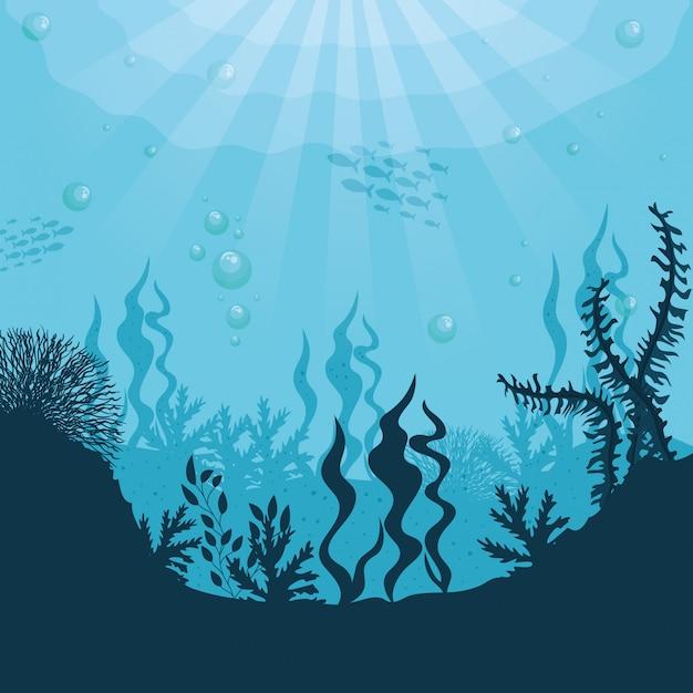 Fondo subacqueo della siluetta, barriera corallina subacquea, pesce dell'oceano e scena delle alghe marine, concetto del marinaio dell'habitat Vettore Premium