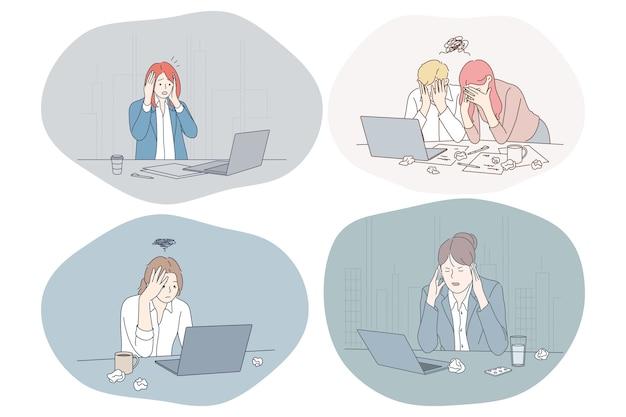 Impiegati giovani depressi infelici che si siedono nell'ufficio Vettore Premium