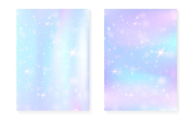Sfondo di unicorno con gradiente magico kawaii. ologramma arcobaleno principessa. Vettore Premium