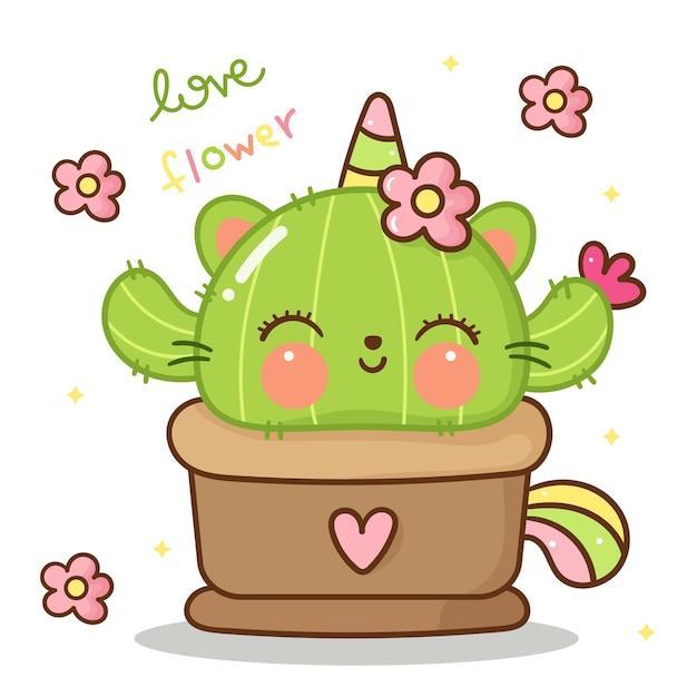 Gatto di gatto unicorno con fiore animale kawaii Vettore Premium
