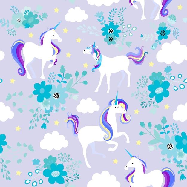 L'unicorno sogna il viola Vettore Premium