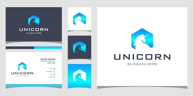 Design del logo unicorno con biglietto da visita premium Vettore Premium