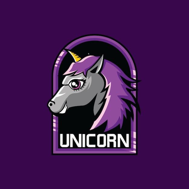 Squadra di gioco di esports mascotte unicorno Vettore Premium