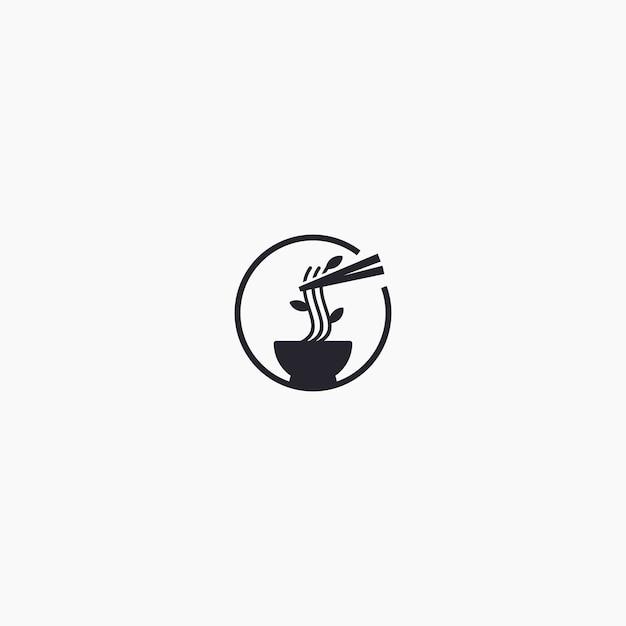 Logo ramen unico Vettore Premium