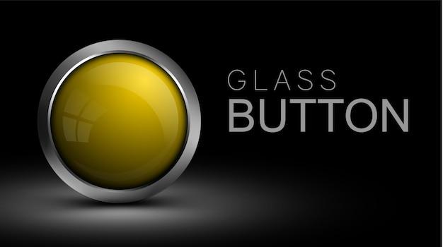 Pulsante unico in vetro giallo Vettore Premium