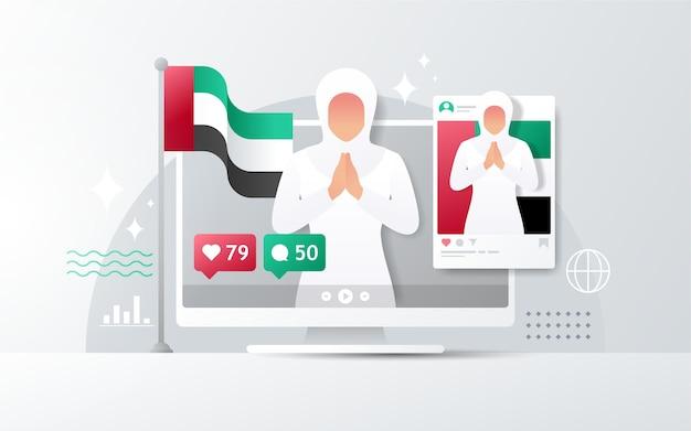 Giornata nazionale degli emirati arabi uniti sul desktop con feed instagram Vettore Premium