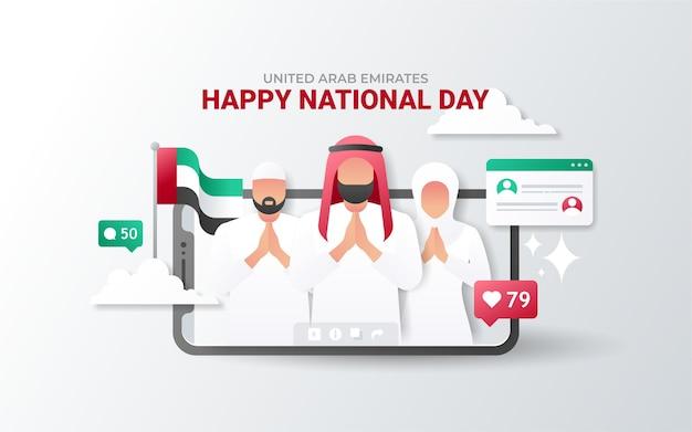 Giornata nazionale degli emirati arabi uniti sul telefono Vettore Premium