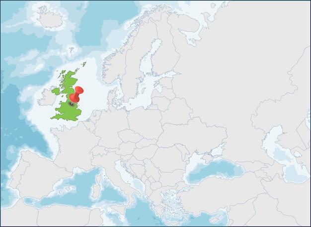 Posizione del regno unito sulla mappa dell'europa Vettore Premium