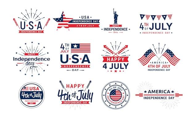 Elementi di saluto del giorno dell'indipendenza degli stati uniti per la raccolta delle icone delle cartoline d'auguri quarto di luglio Vettore Premium