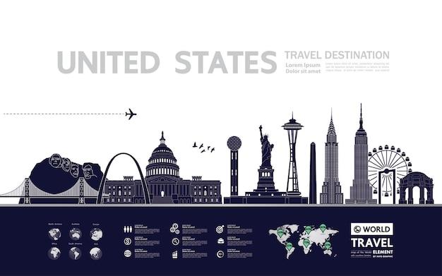 Illustrazione di vettore della destinazione di viaggio degli stati uniti. Vettore Premium