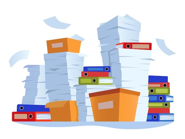 Scartoffie non organizzate. pila di documenti cartacei, illustrazione del fumetto di scompiglio della documentazione del lavoro d'ufficio Vettore Premium