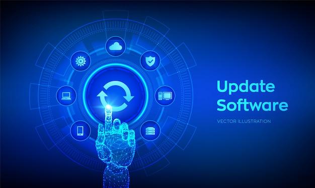 Aggiornamento software. aggiorna il concetto di versione del software sullo schermo virtuale. interfaccia digitale commovente della mano robot. Vettore Premium
