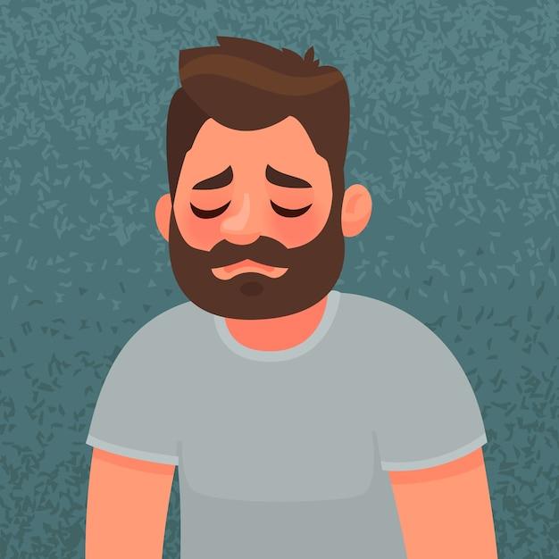 Uomo sconvolto e infelice. espressione triste. il concetto di dolore e solitudine. Vettore Premium