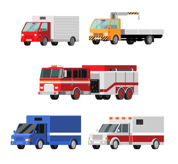 Set di icone vettoriali di auto urbane, città. ambulanza, camion dei pompieri, camion della posta, carro attrezzi, gru, camion, illustrazione di camion stile del fumetto Vettore Premium