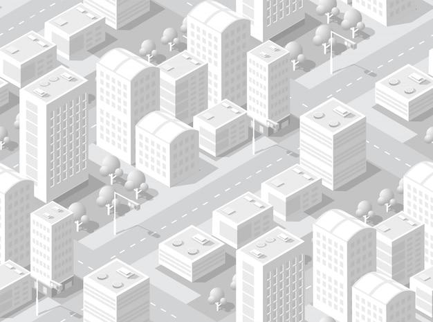 Area isometrica urbana Vettore Premium
