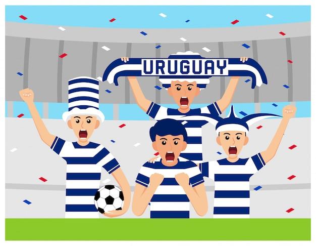 Sostenitori dell'uruguay nella progettazione piana Vettore Premium