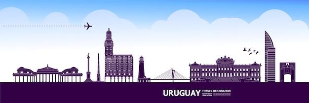 Uruguay destinazione di viaggio illustrazione vettoriale. Vettore Premium