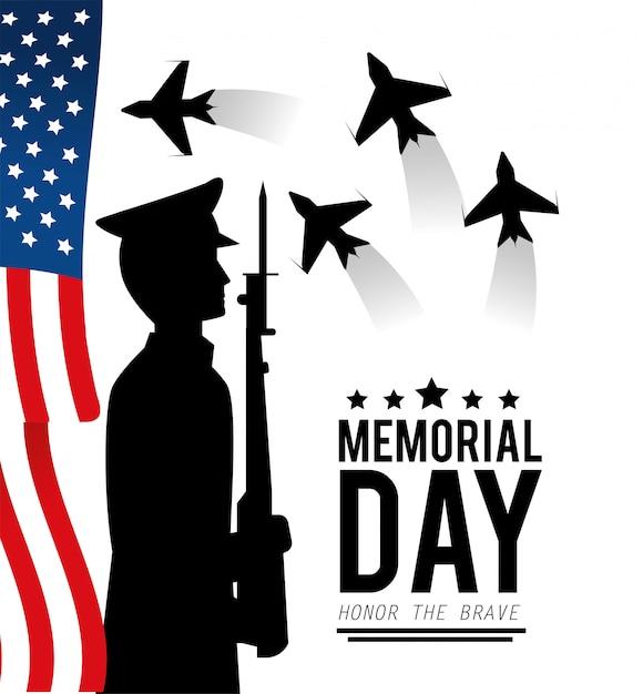 Bandiera degli stati uniti e militare con il fucile al memoriale Vettore Premium