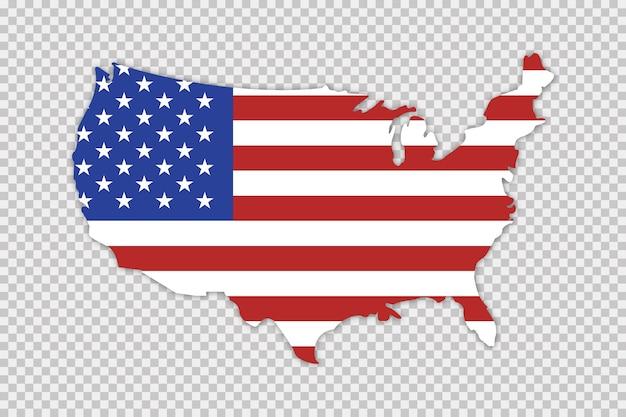 Mappa usa con bandiera e ombra. concetto di geografia. Vettore Premium