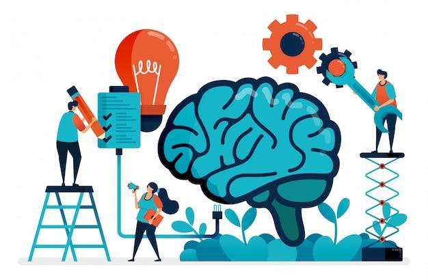 Usa l'intelligenza artificiale per completare le attività. sistema multitasking nel cervello artificiale. idee e ispirazione nella gestione delle attività. intelligenza nel risolvere il problema. Vettore Premium