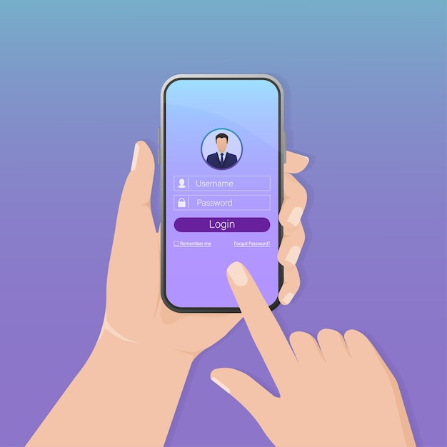 Smartphone di accesso utente per il sito. interfaccia utente della pagina dell'applicazione. telefono, cellulare, smartphone ,. schermo del dispositivo. icona di affari. Vettore Premium