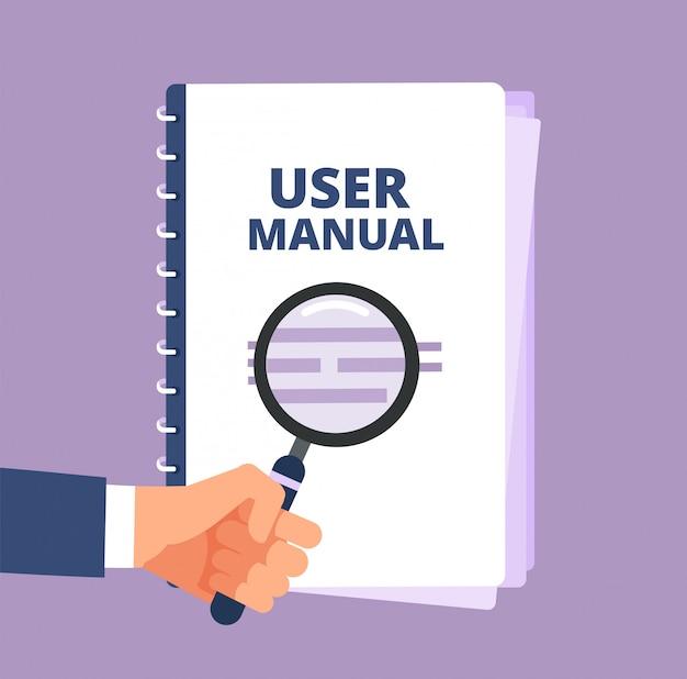 Manuale utente con lente d'ingrandimento. documento guida utente e lente  d'ingrandimento. icona di vettore del manuale, manuale, istruzioni e guida  | Vettore Premium