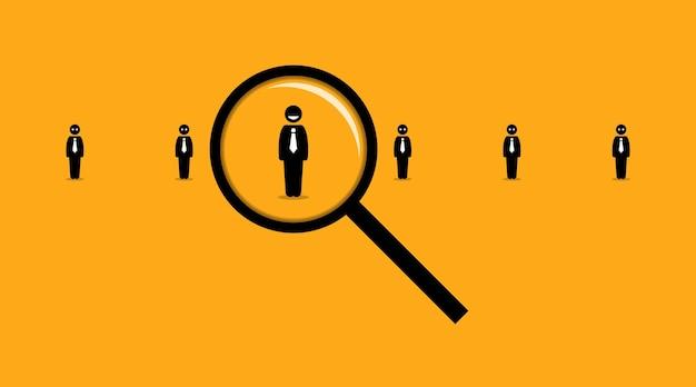 Utilizzando una lente di ingrandimento alla ricerca del dipendente giusto tra molti altri in cerca di lavoro. Vettore Premium