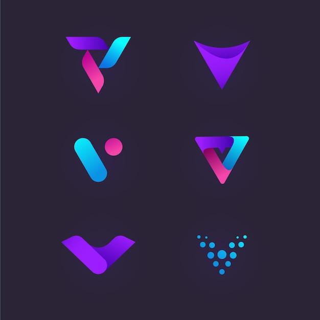 Collezione logo v Vettore Premium