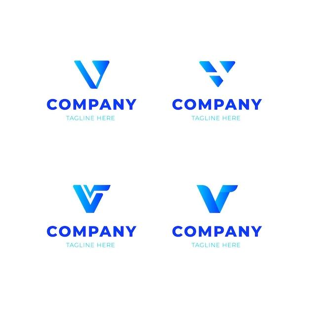 Collezione di design con logo v Vettore Premium