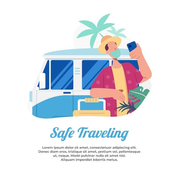Vacanze in sicurezza e rimanere in buona salute nell'estate della pandemia Vettore Premium