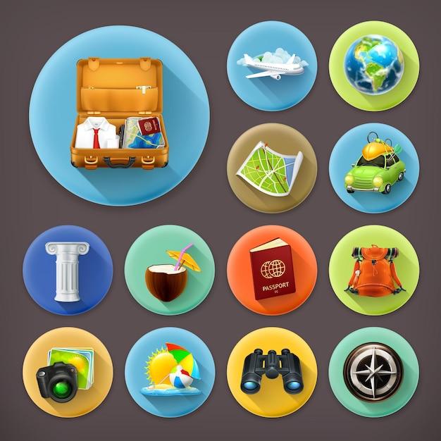 Vacanze e viaggi, set di icone di lunga ombra Vettore Premium