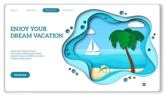 Pagina web per le vacanze. Vettore Premium