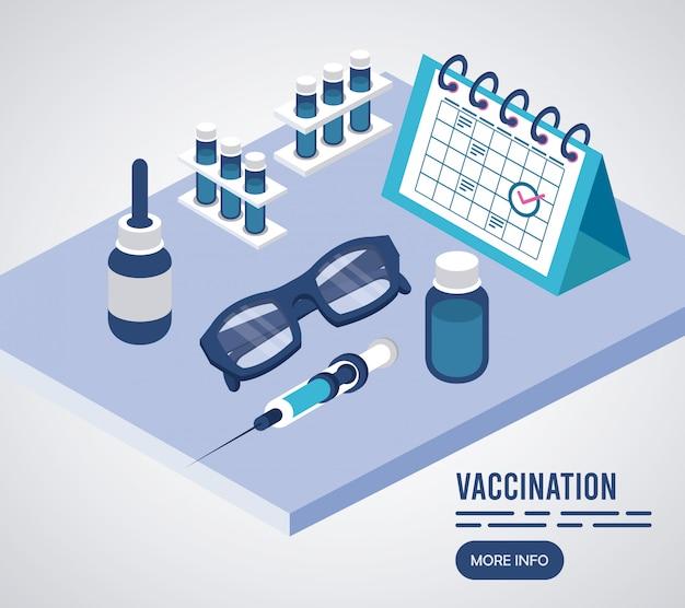 Servizio di vaccinazione con icone isometriche del calendario Vettore Premium