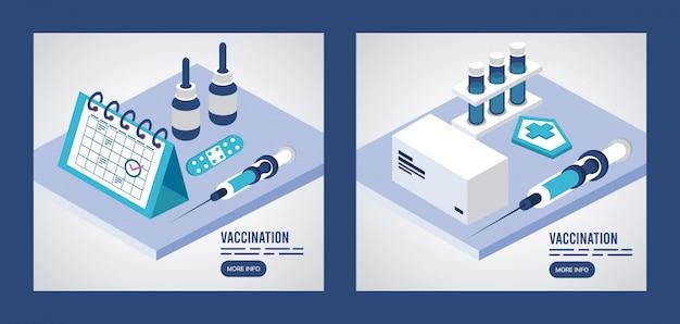 Servizio di vaccinazione con iniezione e calendario isometrico Vettore Premium