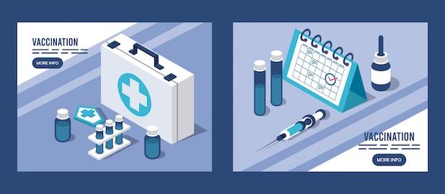 Servizio di vaccinazione con kit medico e calendario Vettore Premium