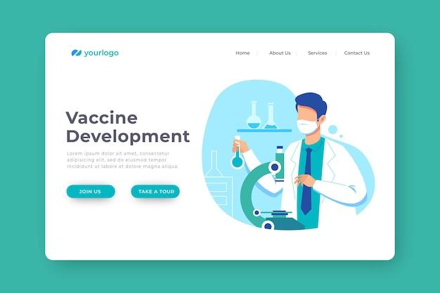 Uomo di sviluppo del vaccino che indossa una maschera medica Vettore Premium