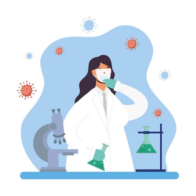 Ricerca sui vaccini con disegno di illustrazione vettoriale di carattere medico femminile Vettore Premium