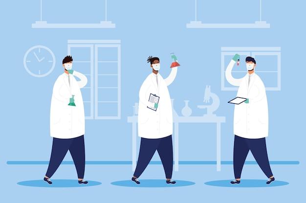 Ricerca di vaccini con medici maschi personale caratteri illustrazione vettoriale design Vettore Premium