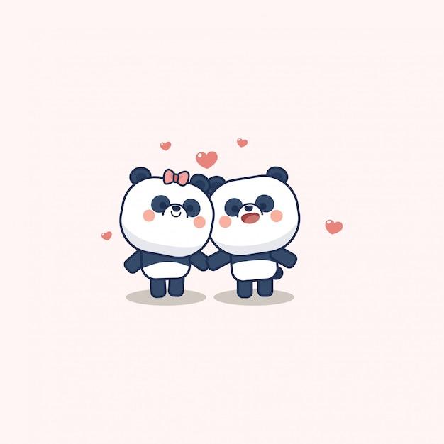 San valentino set con simpatico panda con cuore morbido, con ti amo biglietto di auguri Vettore Premium