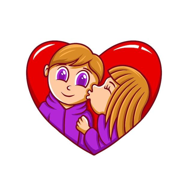 Cartoon carino illustrazione di san valentino disegnato a mano Vettore Premium