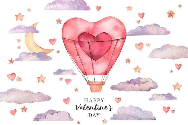 San valentino sfondo in acquerello Vettore Premium