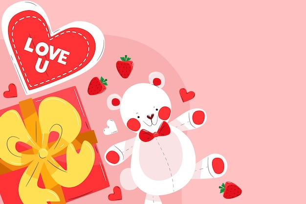 Sfondo di san valentino con cuori e orsacchiotto Vettore Premium
