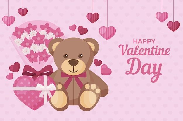 Sfondo di san valentino con orsacchiotto Vettore Premium